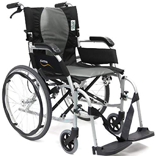 "Karman Healthcare 19.8 lbs Ergonomic Ultra Lightweight Wheelchair, Pearl Silver, 18""x17"""