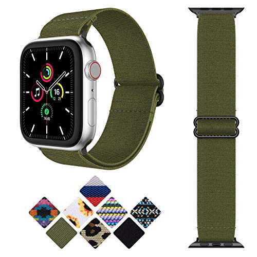 Goton Adjustable Stretchy Nylon Bands Compatible with Apple Watch Bands 38mm 40m, Sport Elastics Solo Loop Replacement Strap for iWatch SE & Series 6 5 4 3 2 1 Women Men,Green