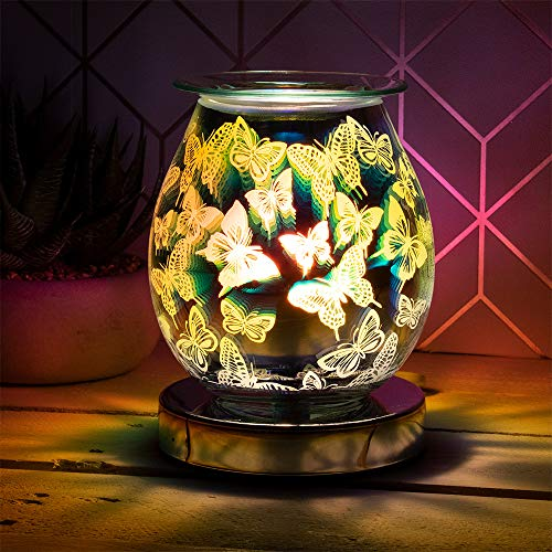 L&P Home & Gifts Desire 3D Aroma melt Oil Aromatherapy Wax Touch lamp. Fragrance Burner for Home/Bedroom/Living Room/Office/Gym. in a Butterflies Design, Multicolour, 12X12X15CM