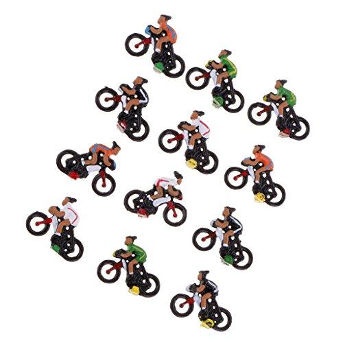 Paquete de 12 Miniatura de Plástico 2cm 1:87 HO Modelo Ciclista Rider...