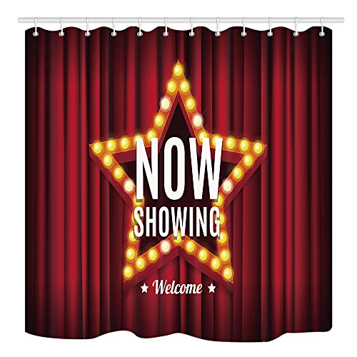 Cinema Movie Shower Curtain Bathroom, Vintage Neon Glow Star Shape on A Red Curtains, Waterproof Polyester Fabric Bathroom Decorations, Bath Curtains Hooks Included, 69X70 Inche