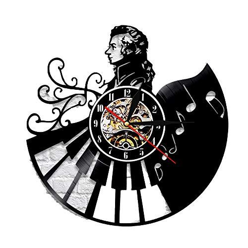 LED Negro Pegamento Reloj Registro Reloj de Pared decoración del hogar Piano Retro Pared Reloj de Mano músico Maestro de música Pianista Regalo