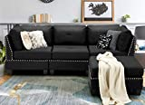 """Esright 88.6"""" Convertible Sectional Sofa Couch with Ottoman, Modern Tufted Linen Fabric L-Shaped Couch with Reversible Chaise, Suitable for Office,Living Room and Hotel Lobby, Black"""