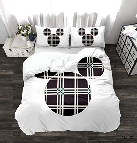 Juego de cama de dibujos animados en 3D de Mickey Mouse Textiles para el hogar, dibujos animados de Minnie Mickey para niños y adultos, niñas y niños, ropa de cama suave y cómoda-F_200X200cm (3pcs)