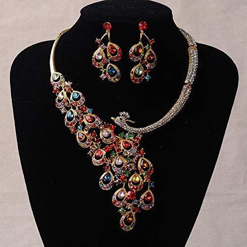 XKMY Joyería para mujer de lujo con diamantes de imitación de oro de pavo real, joyería nupcial chapada en plata, collar y pendientes de cristal, juego de joyas de boda (color metal: color oro)