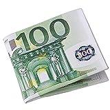 Ducomi Valuta - Cartera unisex de tela reforzada con estampado de monedas y compartimentos para dinero y tarjetas de crédito, 100 € (Verde) - 0647903058068