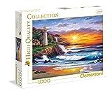 Clementoni- Faro al Atardecer Los Pingüinos De Madagascar Puzzle, 1000 Piezas, Multicolor (39368)