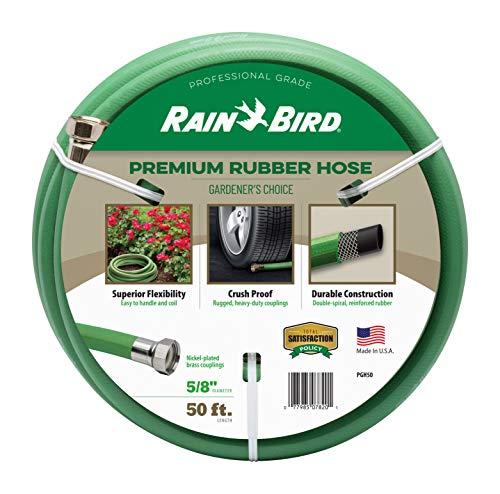 Rain Bird PGH50 Premium Heavy-Duty Garden Hose, 100% EDPM Rubber, Hexagonal, Kink-Resistant, 5/8' Inside Diameter x 50' Long, Green