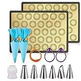 Silicone Baking Mats Non Stick PROLIFE 14PCS Macaron Baking Kit,2 Half Sheet Baking Mats,6 Piping Tip,2 Piping Bag, 2 Bag Tie,1 Coupler for Baking Macaroons and Cookie(16