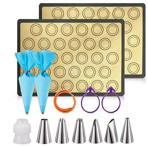 Silicone Baking Mats Non Stick PROLIFE 14PCS Macaron Baking Kit,2 Half Sheet Baking Mats,6 Piping Tip,2 Piping Bag, 2 Bag Tie,1 Coupler for Baking Macaroons and Cookie(16'x11.5')