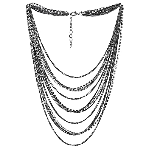 COOLSTEELANDBEYOND GrisNegro Cascada Multi Capas Cadena Statement Cuello Collares Colgante con Collar con Rhinestones Cadena Vestir