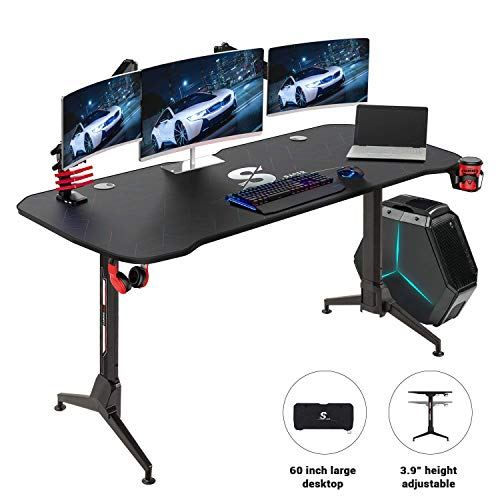 Homall Gaming Desk 60 Inch PC Computer Desk Office Table Worksation T-Shape Height Adjustable with Full Desk Mouse Pad, Gaming Handle Rack, Cup Holder and Head Set Rack (Black)