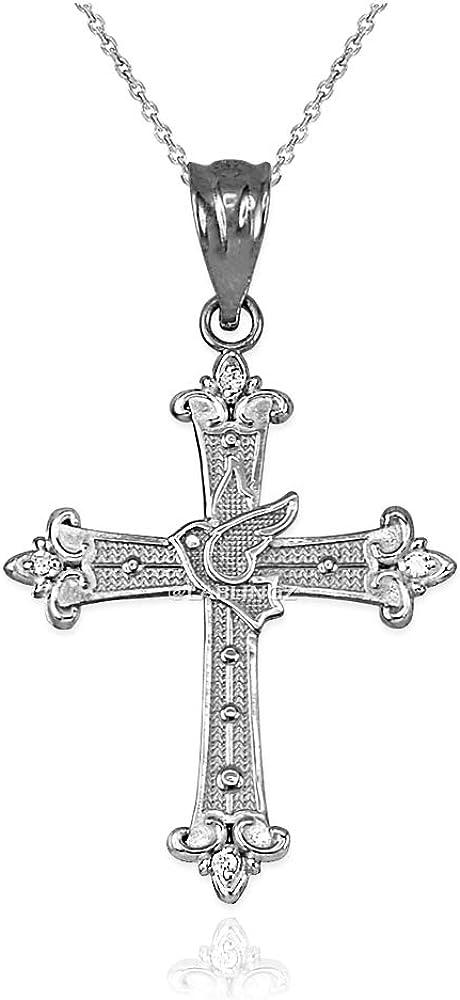 10K White Gold Holy Spirit Necklace latest Pendant Dove Diamond Cross Atlanta Mall