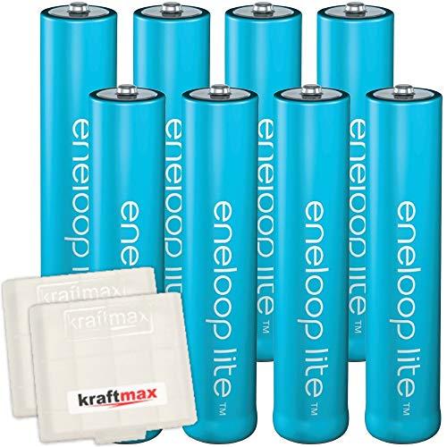kraftmax 8er-Pack Panasonic Eneloop LITE AAA Akkus - speziell für schnurlose Telefone/DECT Telefon - 8X Micro Akku Batterien Akkuboxen