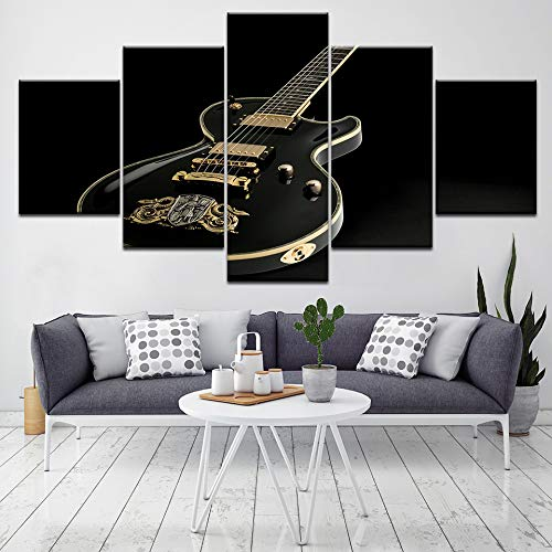 Adornlife Cuadros en Lienzo Instrumento Musical Negro Dorado