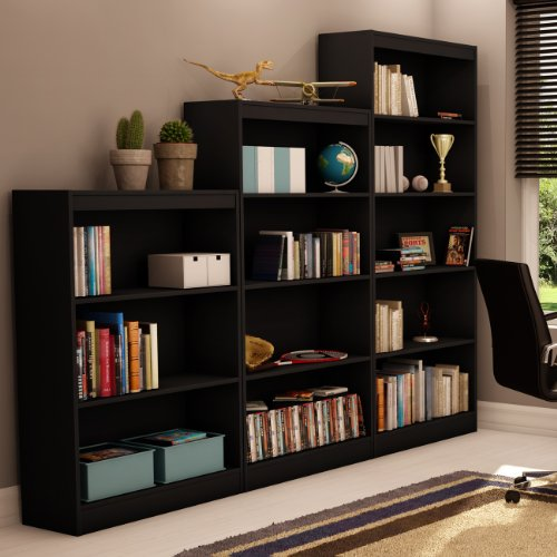 South Shore Axess 4-Shelf Bookcase-Pure Black
