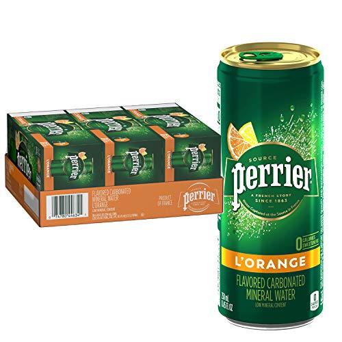 Perrier L'Orange Flavored Carbonated Mineral Water (Lemon Orange Flavor), Slim Cans, 8.45 Fl Oz (Pack of 30)