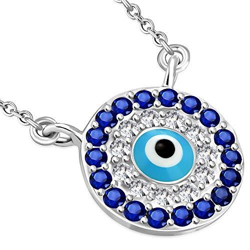 Collana con ciondolo, da donna, in argento Sterling 925 a forma di occhio cattivo Hamsa, con zirconia cubica, colore: blu/bianco