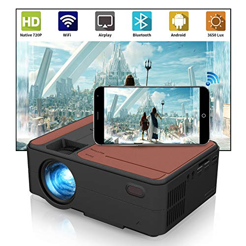 Portable WiFi Projector, 3650 Lux Mini Video LED Projector with Wireless Bluetooth, Support HD 1080P, Wireless Screen Mirroring, with iPhone, Android, Laptops, PC, DVD, PS4 for Outdoor Movies