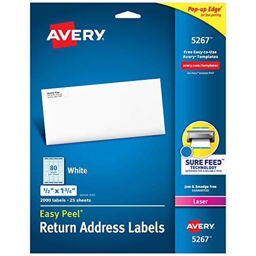 AVERY 5267 Easy Peel Return Address Labels, Laser, 1/2 x 1 3/4, White (Pack of 2000), (Model: 05267)