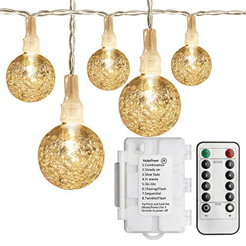 Koopower 30 LED 18ft Globe String Lights, 8 Mode Battery Powered Fairy Crystal Ball Lights with Remote and Timer for Christmas Tree, Party, Outdoor, Indoor Decroate (Warm White)