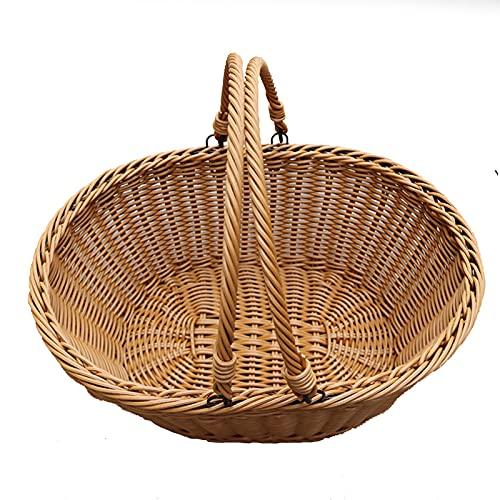 AIRUYI Portable Picnic Basket Rattan Woven Basket Rattan Shopping Basket For Kitchen Bedroom Supermarket Shopping Fruit Vegetables Storage Hamper Rattan Carrying Basket Tableware Serving Tray