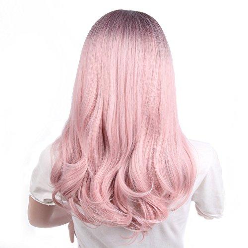 Yuan Damenmode Perücke, Lady Pink Gradient Lange Locken Cosplay Perücke