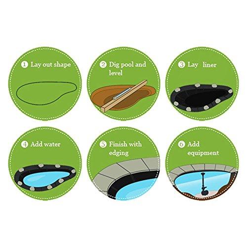 Premium PE Teichfolie 3m x 4m = 12qm Schwarz für Gartenteich;0,3 mm Stärke, UV-Beständig, reißfest, umweltfreundlich - 6