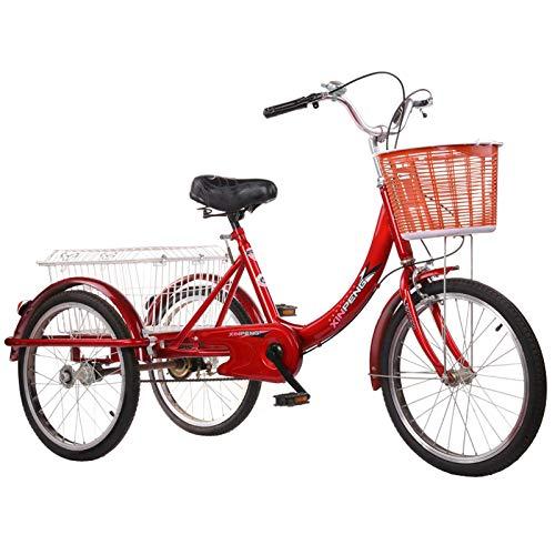 SN Triciclo para Adultos con Cesta 20 Pulgadas Marco De Aleación Trike 3 Ruedas Seniors Wheel Cargo Bicicleta para Adultos Y Personas Mayores (Color : Red)