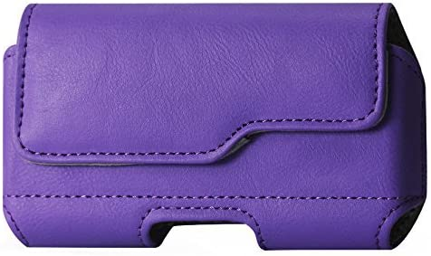 Golden Sheeps Pouch Compatible for Samsung S10 Plus/5G ,Note 9/8/5/4,S9 Plus, S8 Plus XXL Size Leather Belt Clip Pouch Cover Holster(Phone with with Bulky Case or Extended Battery case)-purple