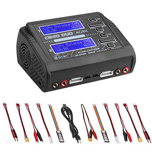 RUIZHI Caricabatterie LiPo Scaricatore Dual AC150W DC240W 10A C240 1-6S Duo Balance Caricabatterie per Batteria agli ioni di Litio NiCd NiMH LiHV PB Smart Battery
