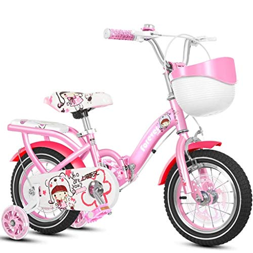 seveni Kids' Bikes, Children's Bicycle Girl Pink Scooter 2-4 Years Old Boy Pedal Balance Car 4-8 Years Old Folding Bicycle Outdoor Sports Bike (Color : Red, Size : 16in)