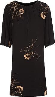 Mahi Crepe Ls Womens Tunic Dress Utility Blue Gold UK10 EU38 US6