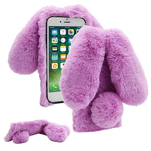 Cestor Plüsch Kaninchen Häschen Ohren HandyHülle für Huawei P40,Niedlich Winter Warm Pelzig Weich Flauschige Faux Pelz Glitzer Diamant Stoßfest Silikon Hülle,Lila