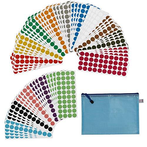 KATOOM Etichette Rotonde Adesive,60 PCS Bollini Adesivi Colorati 15 Colori Diversi Diametro 2 cm Coding Record Classificazione Decorazione Ufficio Scuola Negozio