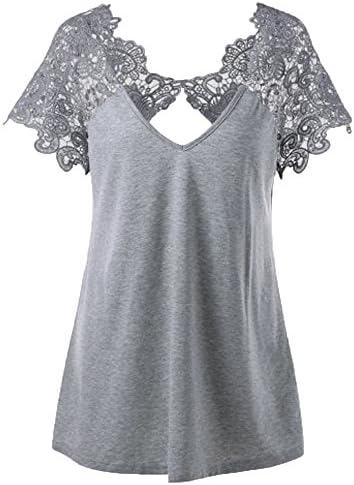 Moda Mujer Camiseta Casual Blusa con Lace Transparente Vintage Talla Grande Suelta Cuello en V Chaleco Romántico Camisa Básica Color Sólido