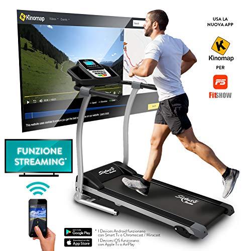 Sixtus Tapis Roulant Elettrico Pieghevole, Bluetooth, App KINOMAP, 12 Km/h, Sensore Cardiaco, Tappeto Ammortizzato Maxigrip, Inclinazione, Supporto Tablet, Motore Lineare PowerDriveTM (3,5HP Picco)