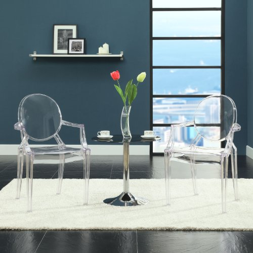 Modway Casper Modern Acrylic Stacking Kitchen and Dining Room Arm Chair in Clear - Fully...