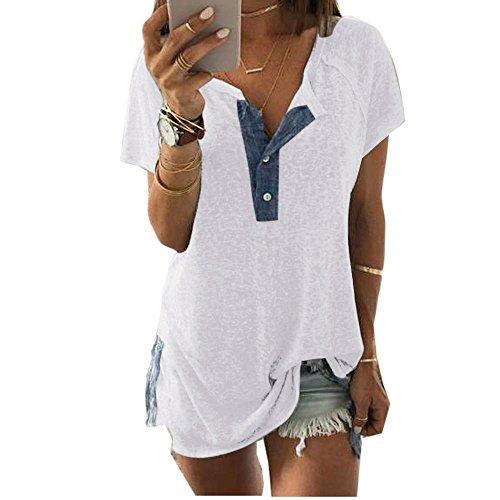 NPSJYQ Camiseta De Manga Corta para Mujer Blusa Casual Abotonada con Abertura Alta Camisetas Sin Mangas Camisa Elegante Suelta De Gran TamañO Camisetas CóModas De Verano