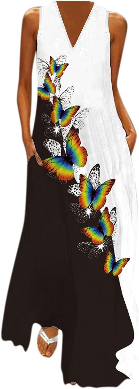 GCETTIC Dresses for Women, Summer Casual Women V Neck Butterfly Printed Long Maxi Dress Sleeveless Party Tank Long Dress