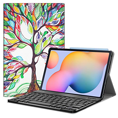 FINTIE Keyboard Case for Samsung Galaxy Tab S6 Lite 10.4 Inch Tablet 2020 (SM-P610/P615), Slim Stand Cover with Secure S Pen Holder, Detachable Wireless Bluetooth Keyboard (UK Version), Love Tree