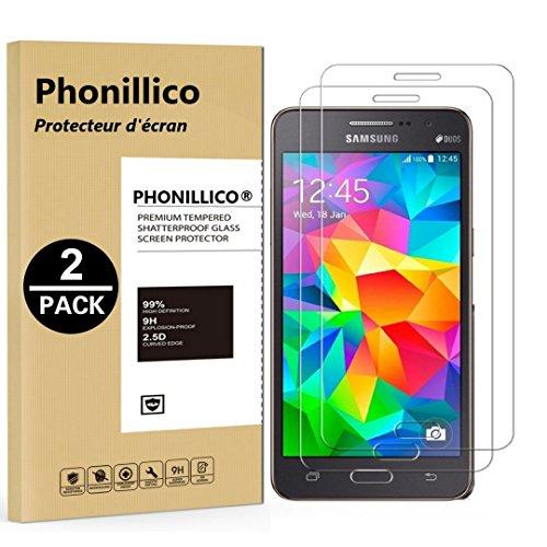 PHONILLICO [Pack de 2] Verre Trempe pour Samsung Galaxy Grand Prime SM-G530 - Film Protection Ecran Verre Trempe Ultra Resistant [Lot de 2] Vitre Protecteur Anti Rayure sans Bulle d'Air Dureté 9H