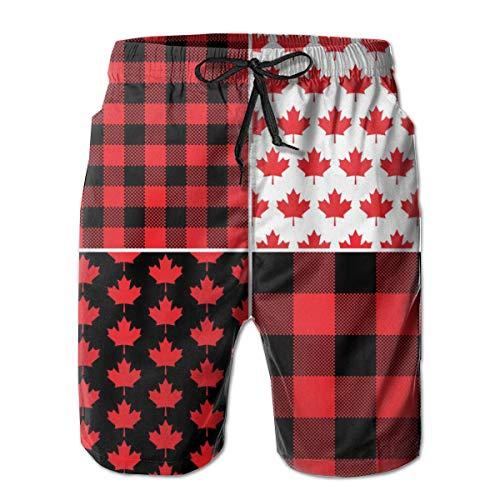 best& Canadian Maple Leaf Buffalo Check Plaid Canada Herren-Badehose und Workout-Shorts Badeanzug oder Athletic Shorts - Adults Boys Medium