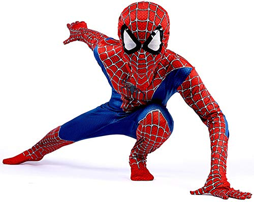 Disfraz Spiderman Niño, Homecoming Spiderman Disfraz Niño, Superheroe Spiderman Mascara Niño Cosplay Halloween Suit Spiderman Traje, 3D Print Carnaval Disfraz De Spiderman Niño,RedBlue-XS(102cm~112cm)