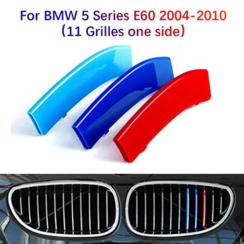 3D Front Kühlergrille Für BMW 5er E60 2004-2010(11 Gitter)Frontgrill Zierleisten Nieren Kühlergrill Kappe Schnalle Streifen Trim Grille Abdeckung Aufkleber 3 Stück