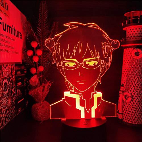 3D Night Light Anime - Lámpara 3D con diseño de anime, la vida desastrosa de Saiki K acrílica de luz nocturna para dormitorio infantil, regalo de cumpleaños para niños