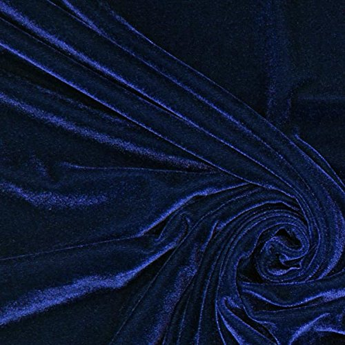 Fabulous Fabrics Samt marineblau, Uni, 147cm breit – Samt zum Nähen von Abendkleidung, Blazern und Tops – Meterware erhältlich ab 0,5 m