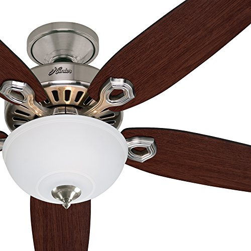 Hunter Fan 52in Traditional Brushed Nickel Ceiling Fan with Cased White Glass Light Kit, 5 Blade (Renewed) (New Bronze)