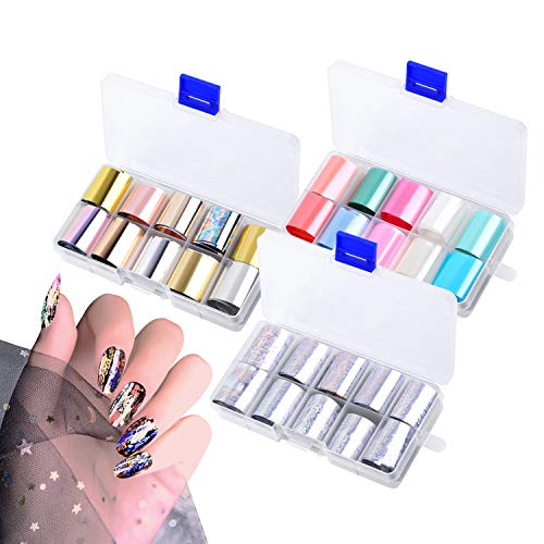 30 Farbe Nail Art Sticker,Transferfolie Nägel, Nailart Folie Transfer Roll Set Holographische Laser Nail Transfer Aufkleber Kit Nagelfolie Transfer (Stil 1)