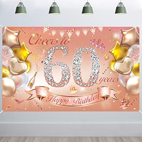 HOWAF Woman 60th Birthday Party Decoration Rose Gold, Fabric Banner for 60th Birthday Photo Backdrop Photography Background, 60th Birthday Outdoor Garden Table Wall Decoration Supplies
